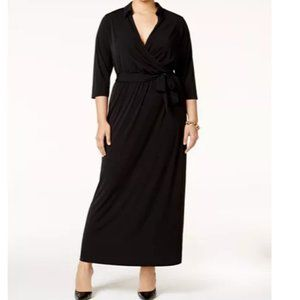 NY Collection Faux Wrap Maxi Dress Belted